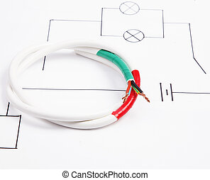 Electric wire on a background of the electric scheme