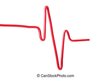 The electric wire is bent in the form of the cardiogramme.