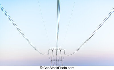 Electric wires post outdoor electic network urban corporation concept modernisation space for text mist smog outdoors