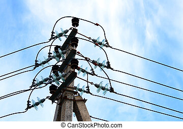 electric wires - top of pilon with lot of isolators and...