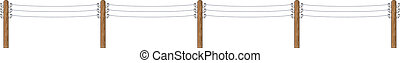 Electric wooden poles with wires