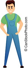 Electric worker icon, cartoon style