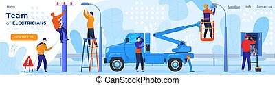 Electric workers, electricity on power line repairman, electrician profession webpage template vector illustration.