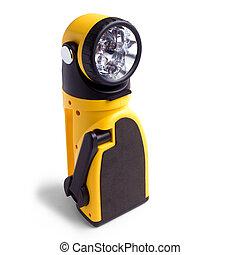 electric yellow pocket flashlight isolated on white background