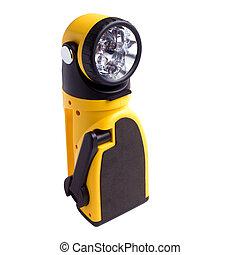 electric yellow pocket flashlight isolated