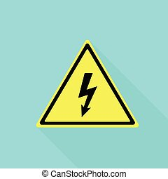 Electric yellow sign icon, flat style - Electric yellow sign...