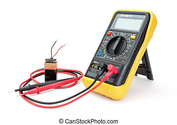 Electrical appliance ammeter - a multimeter to measure the battery.