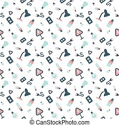 electrical appliances and light bulbs pattern - Seamless...