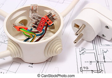 Electrical box and electric plug on construction drawing