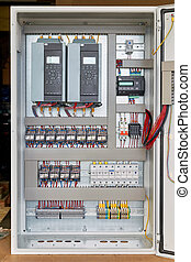 Electrical Cabinet with frequency converters, controller, circuit breaker.