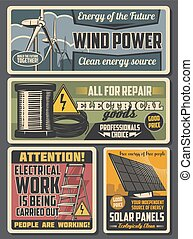 Electrical cable, wire, solar panel, wind turbine - ...