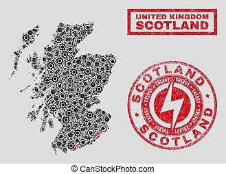 Electrical Collage Scotland Map and Snow and Scratched Stamp Seals