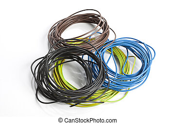 Electrical components - Coils of cables on a white...