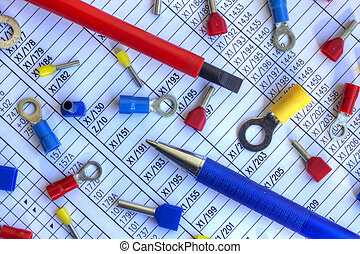 Electrical components on schematic diagram