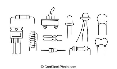 Electrical components. Set of diode, transistor capacitor, resistor, inductor. Hand drawn vector illustration
