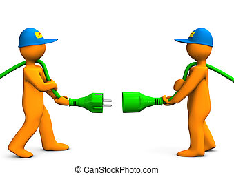 Electrical Connection - Two orange cartoon characters with...