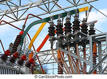 electrical connection with large copper bars of a high voltage transformer in a power plant to produce electricity