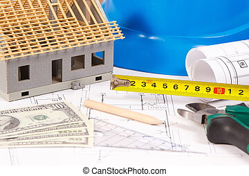 Electrical construction drawings, work tools and accessories, small house and currencies dollar, building home cost concept