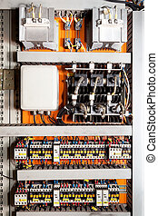 Electrical panel at a assembly line factory. Controls and switches.