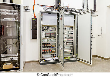 Electrical control panel in distribution fuse box. - ...