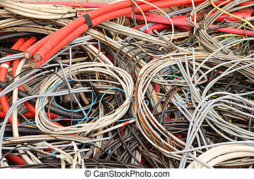 electrical copper cables in a special waste landfill - old...