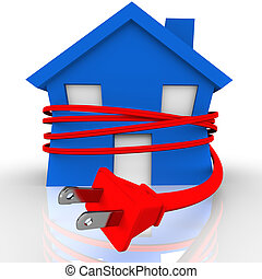 Electrical Cord Strangling House Home Power Energy - A blue...