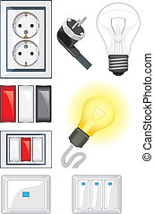 Electrical device objects. Vector illustration