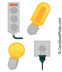 Electrical devices in colors vector poster isolated on white