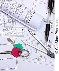 Electrical diagrams, accessories for drawing and home keys