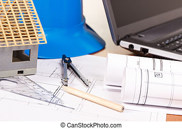 Electrical diagrams, accessories for engineer jobs and house under construction, building home concept