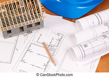 Electrical diagrams or blueprints, accessories for engineer jobs and house under construction, building home concept
