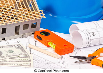 Electrical diagrams, work tools and accessories, house under construction and currencies dollar