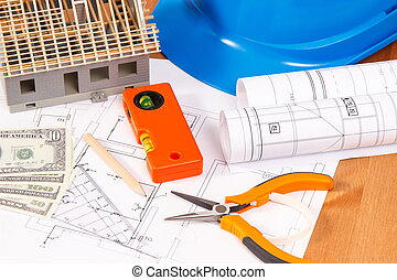 Electrical diagrams, work tools and accessories, house under construction and currencies dollar, building home cost concept