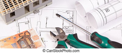 Electrical diagrams, work tools for engineer jobs, house under construction and currencies euro, building home cost concept
