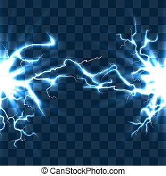 Electrical discharge with lightning beam isolated on...