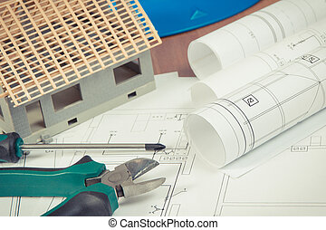 Electrical drawings, work tools and accessories for use in engineer jobs and house under construction