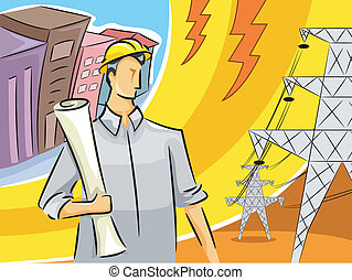 Electrical Engineer Guy - Illustration of an Electrical...