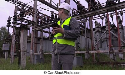 Electrical Engineer using tablet PC
