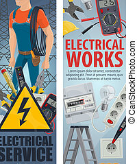 Electrical engineering electrician service banners