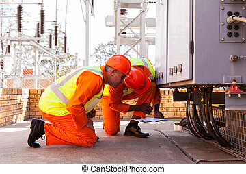 electrical engineers working in substation
