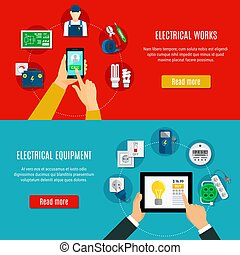 Electrical Equipment And Electrician Horizontal Banners -...