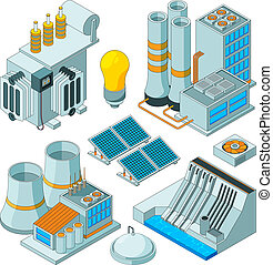 Electrical equipment. Watt electricity lighting generators vector isometric pictures isolated