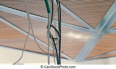Electrical exposed wires dangling from the ceiling....