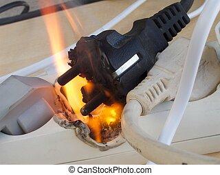 Electrical fire - Fire in overloaded power strip. European...