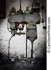 electrical fuse box in an abandoned old factory