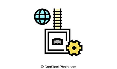 electrical fuse animated color icon. electrical fuse sign. isolated on white background