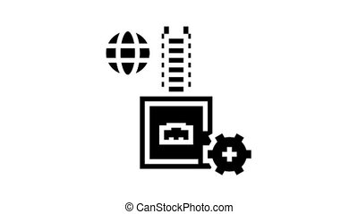 electrical fuse animated glyph icon. electrical fuse sign. isolated on white background