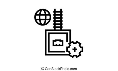 electrical fuse animated black icon. electrical fuse sign. isolated on white background