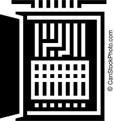 electrical fuses box glyph icon vector illustration