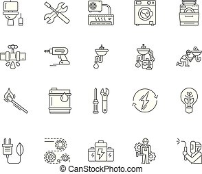Electrical gas & sanitary services line icons, linear signs, vector set, outline concept illustration